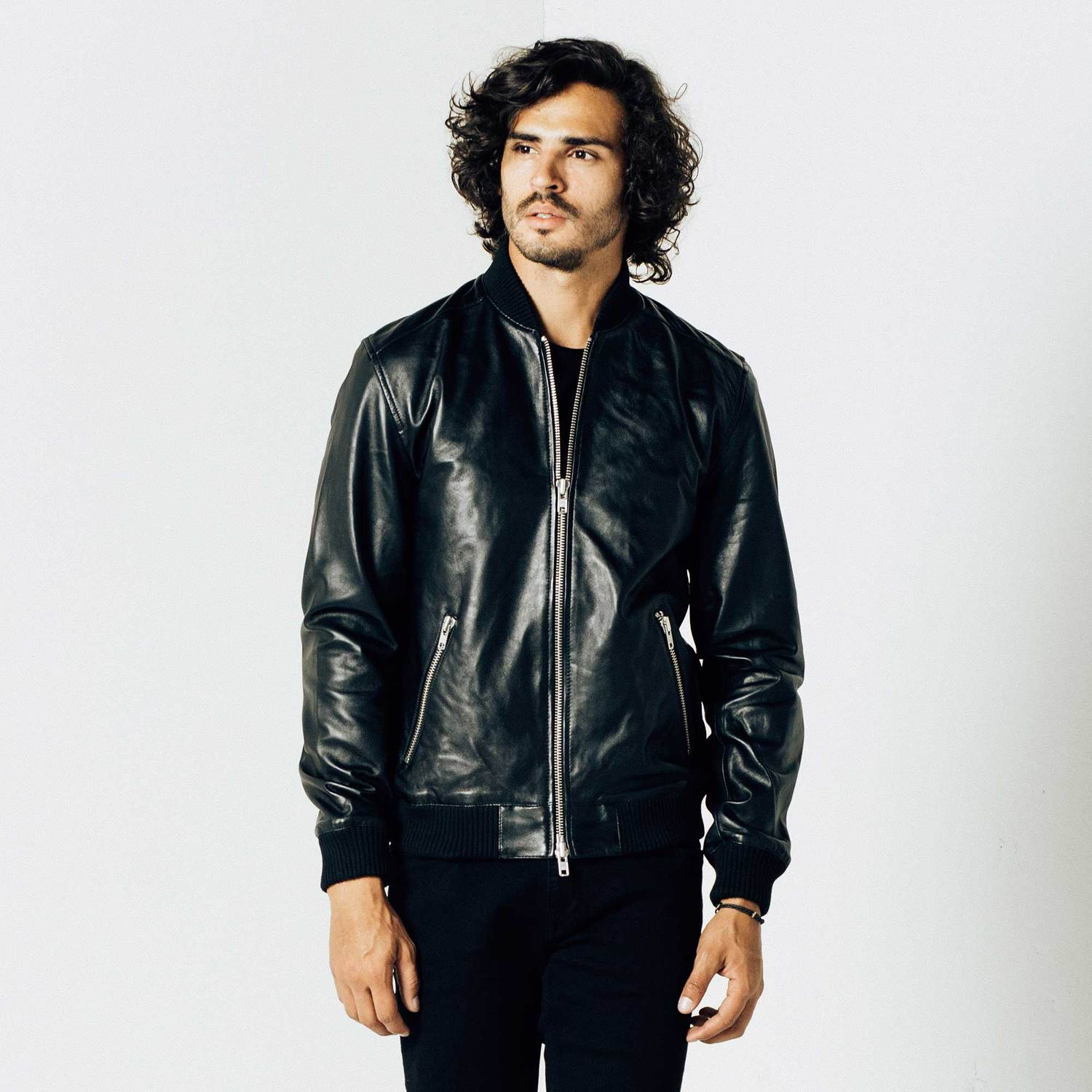Mens Leather Bomber Jacket In Black $320 | DSTLD