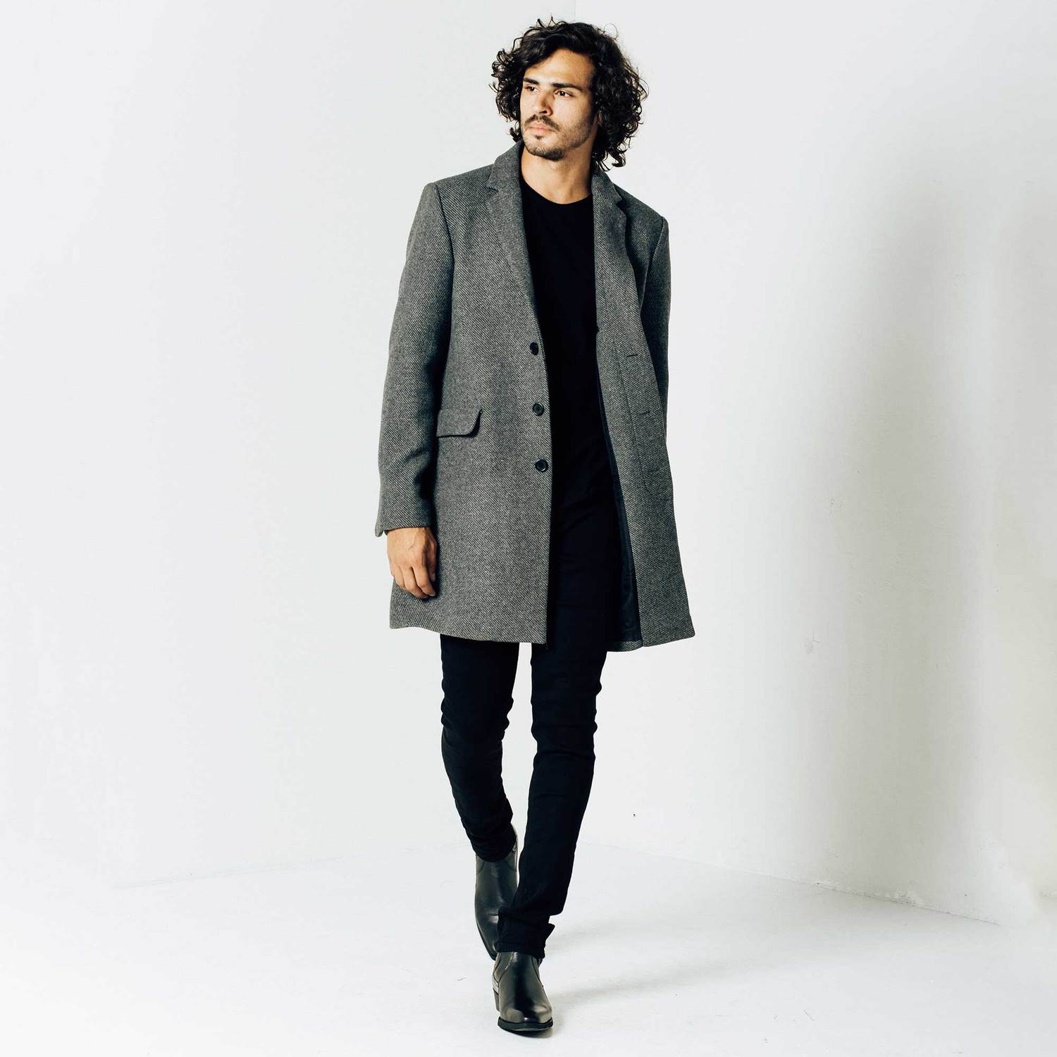 Mens Long Wool Coat In Grey $250 | DSTLD