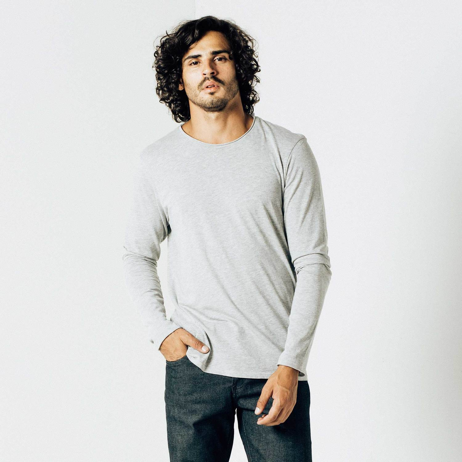 Mens Long Sleeve Modern Crew Neck Tee In Heather Grey $30 | DSTLD