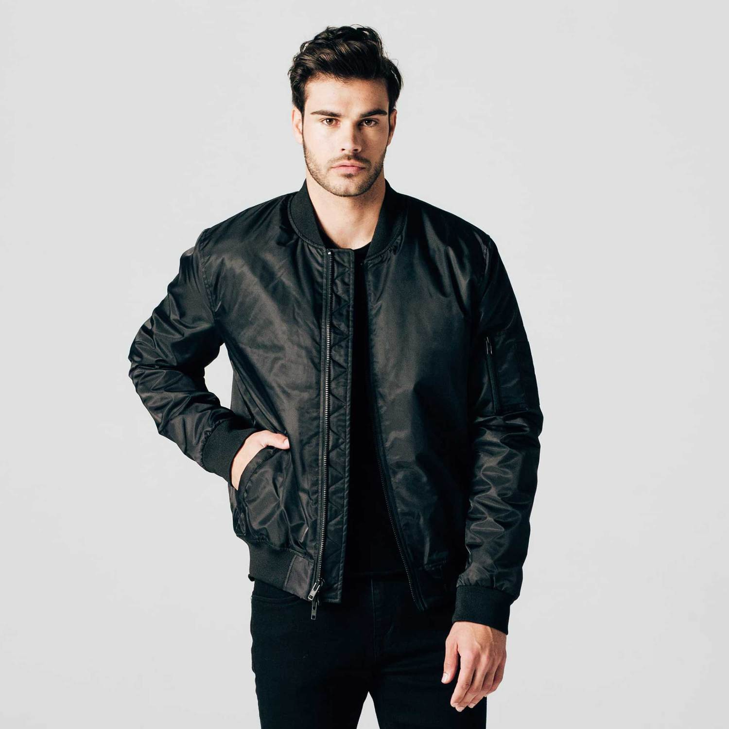 Black male bomber jacket