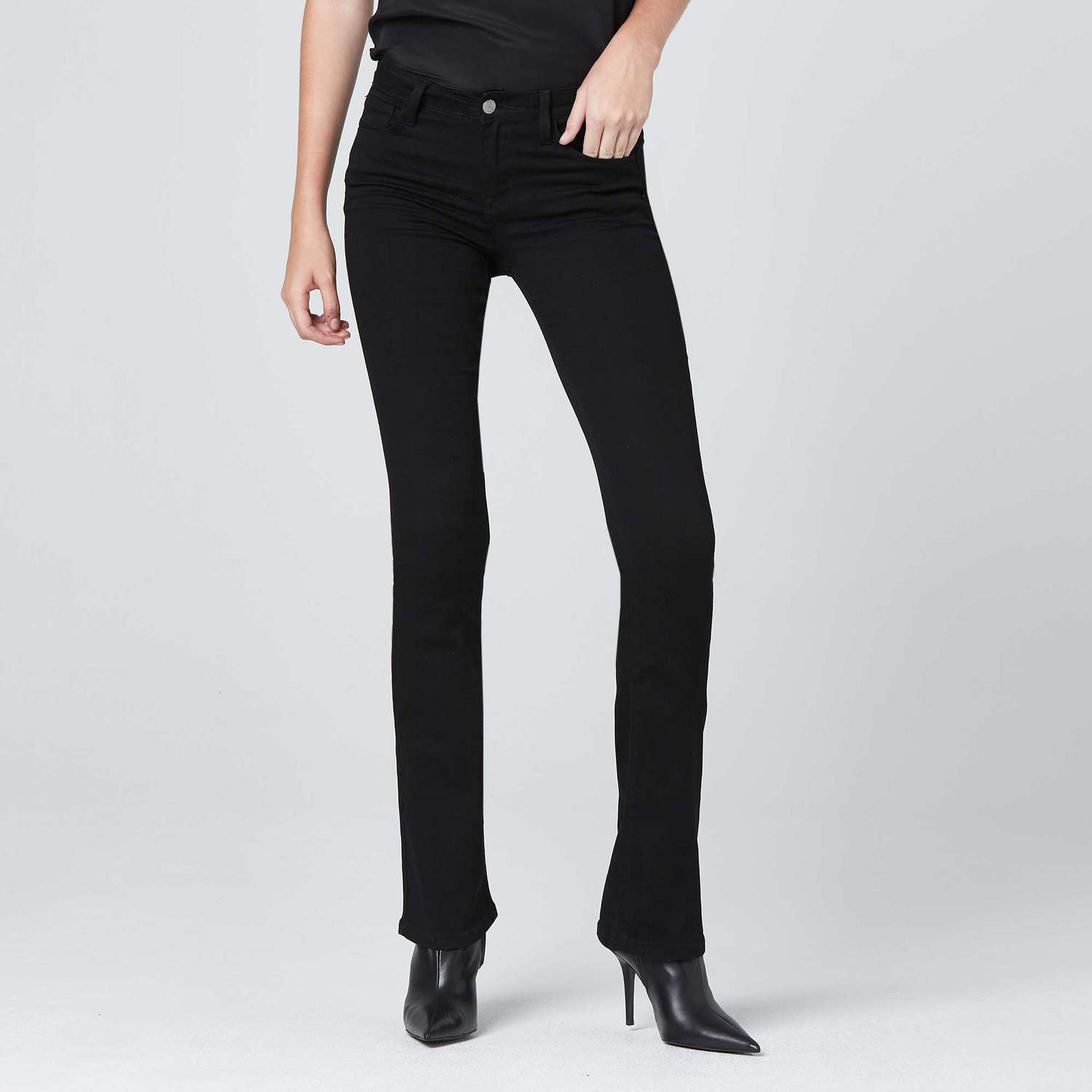 25ea43a3688 Womens Mid Rise Skinny Flare Jeans In Black  85