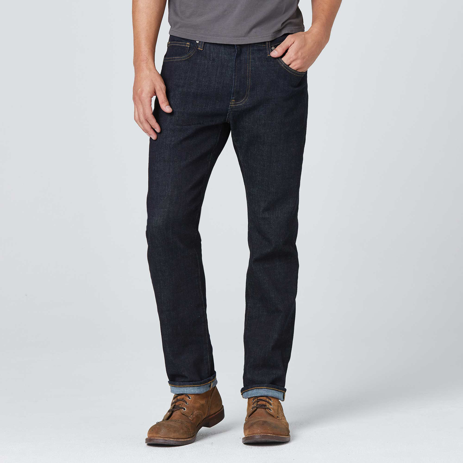 Mens Slim Jeans In Dark Wash Resin Timber Stitch by Dstld