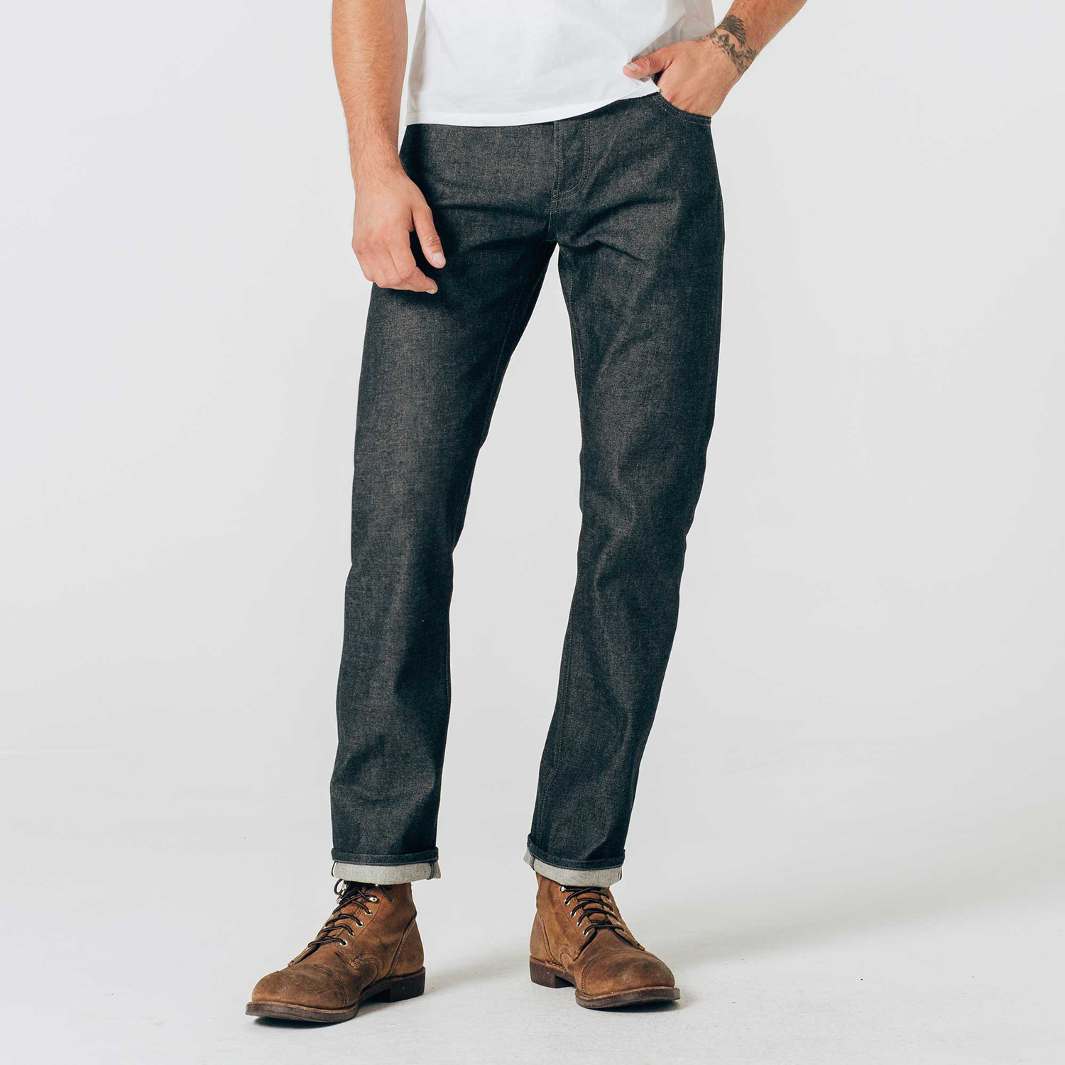 9e603f310d3 Mens Straight Raw Jeans In Selvedge Indigo Grey  85