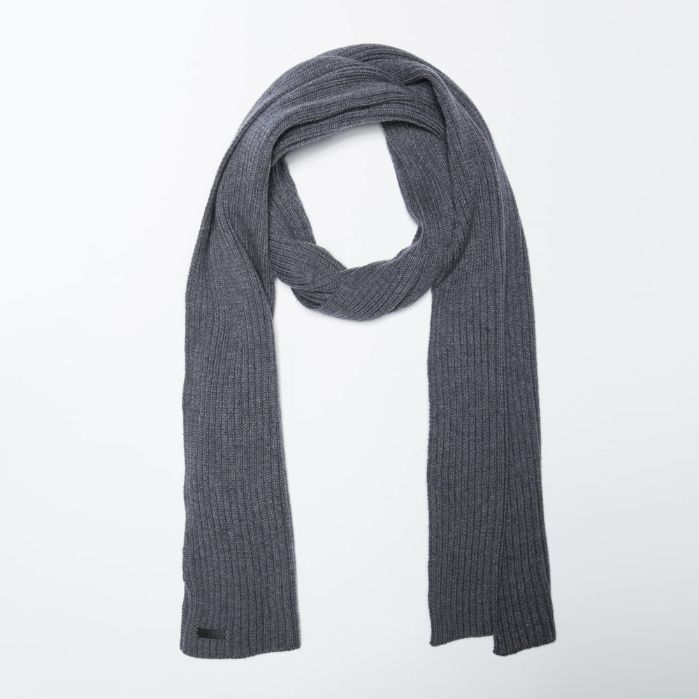 Cashmere Blend Ribbed Scarf in Grey