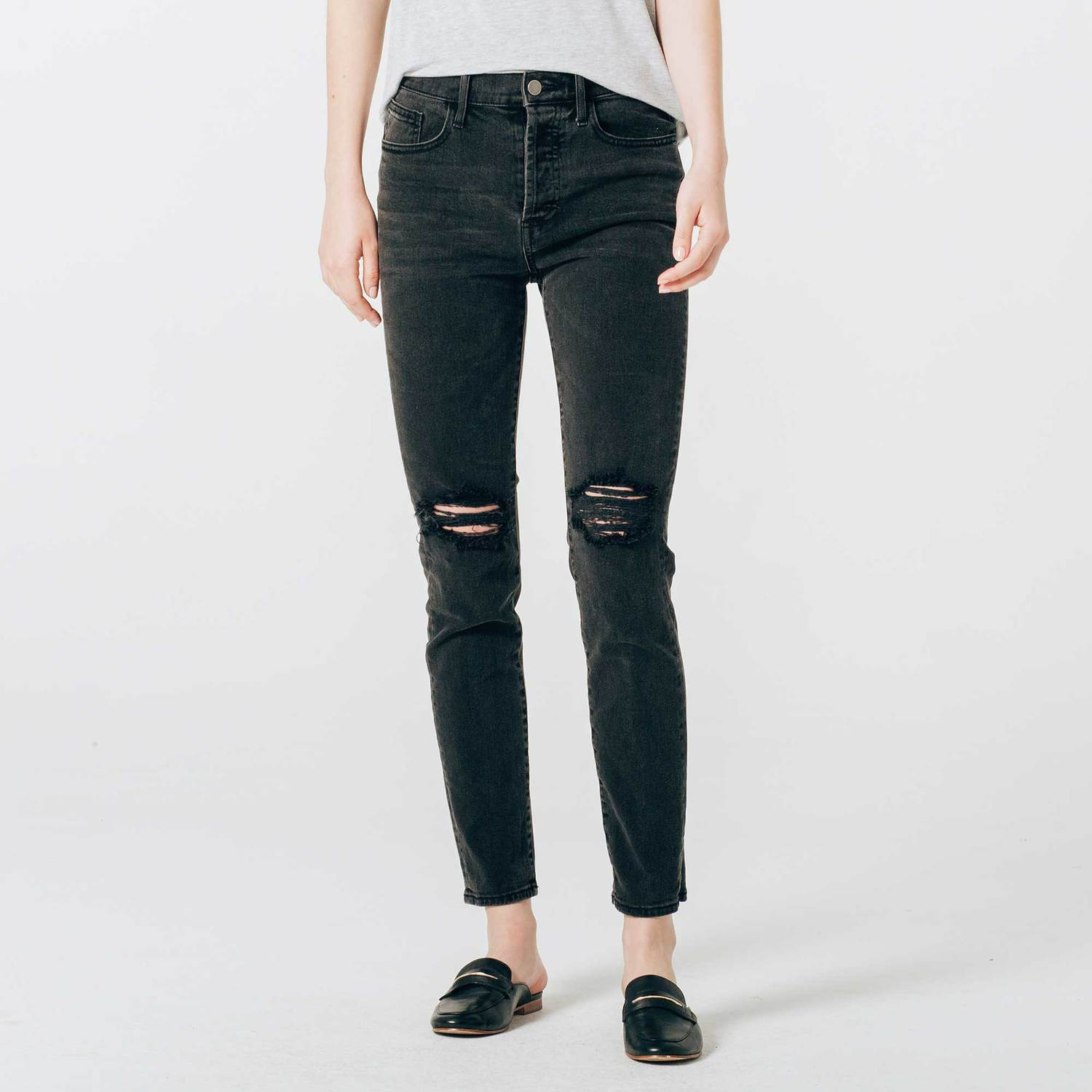 55f88dea94c Womens Ripped High Rise Mom Jeans In Faded Black  95