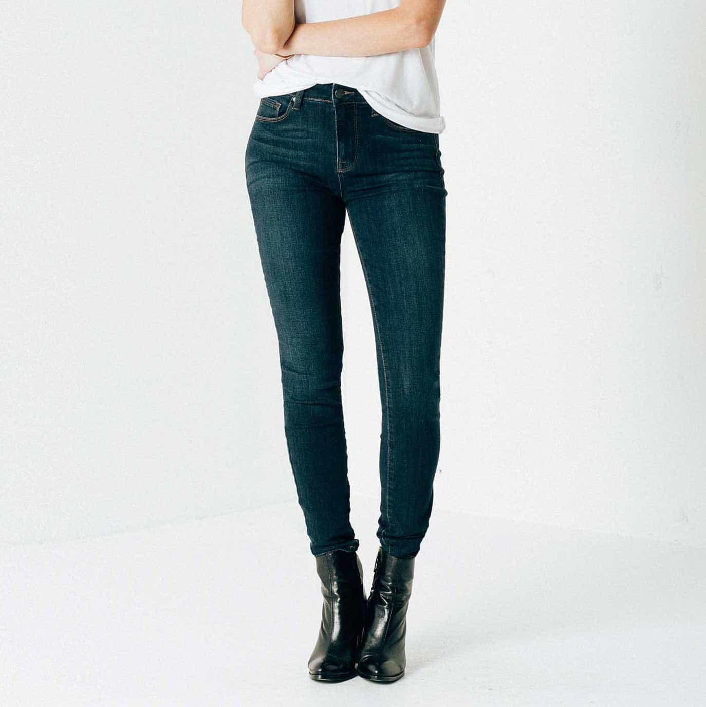 Womens High Waisted Skinny Jeans In Dark Vintage | DSTLD