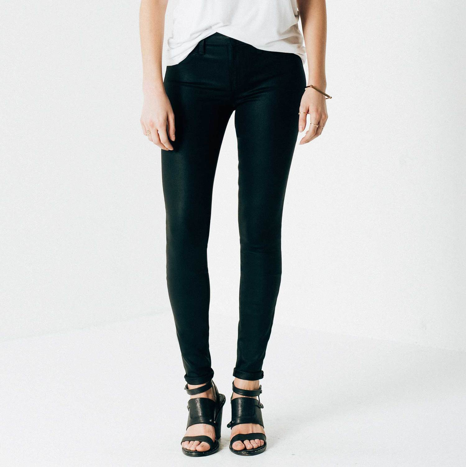 Womens High Waisted Skinny Jeans In Black Coated Powerstretch | DSTLD