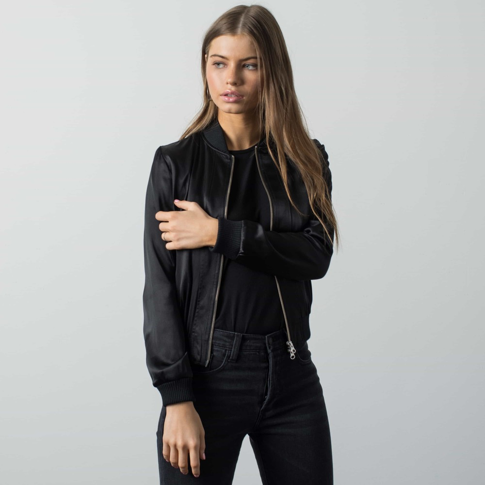 Womens Silk Bomber Jacket In Black | DSTLD