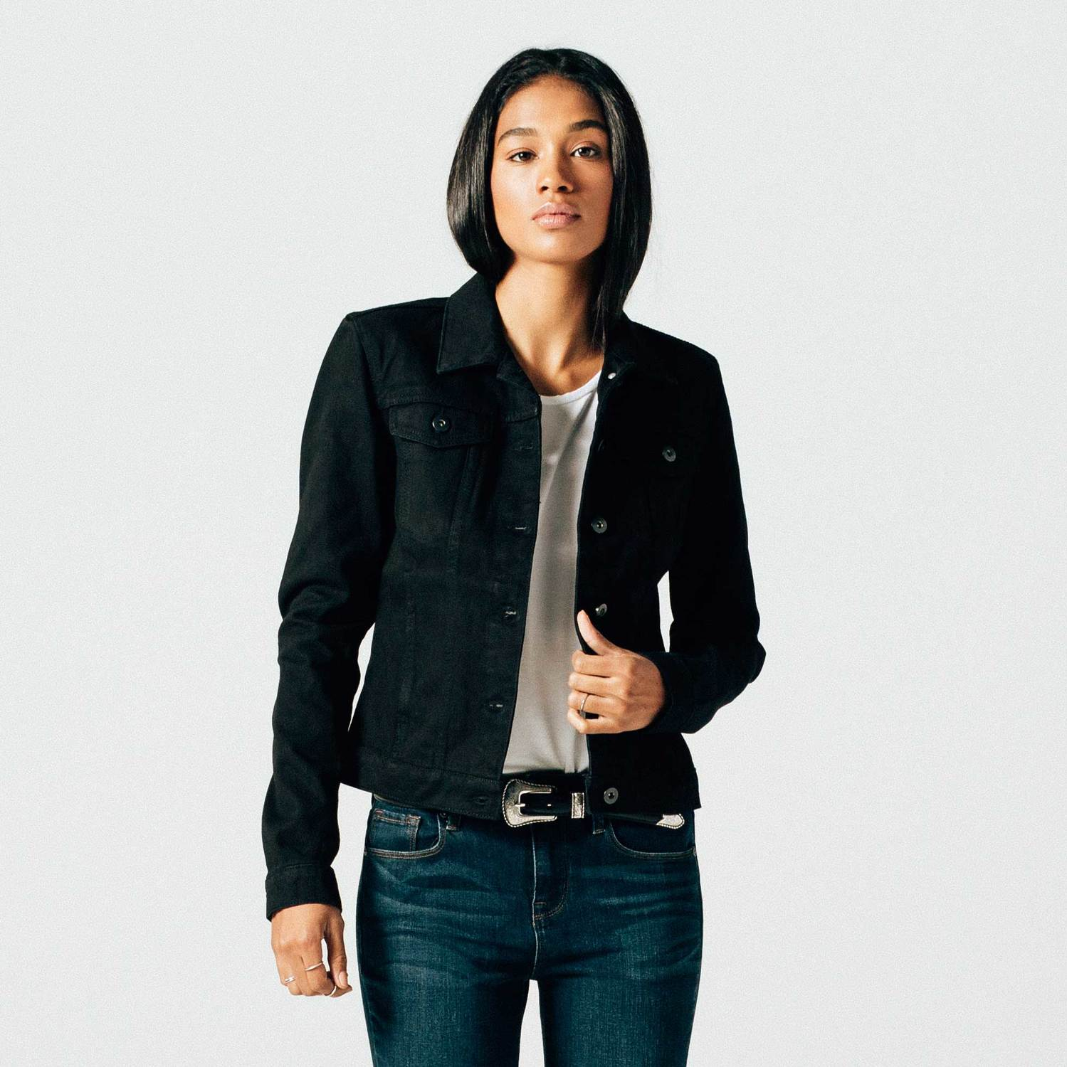 Womens Denim Jacket In Black Rinse $85 | DSTLD