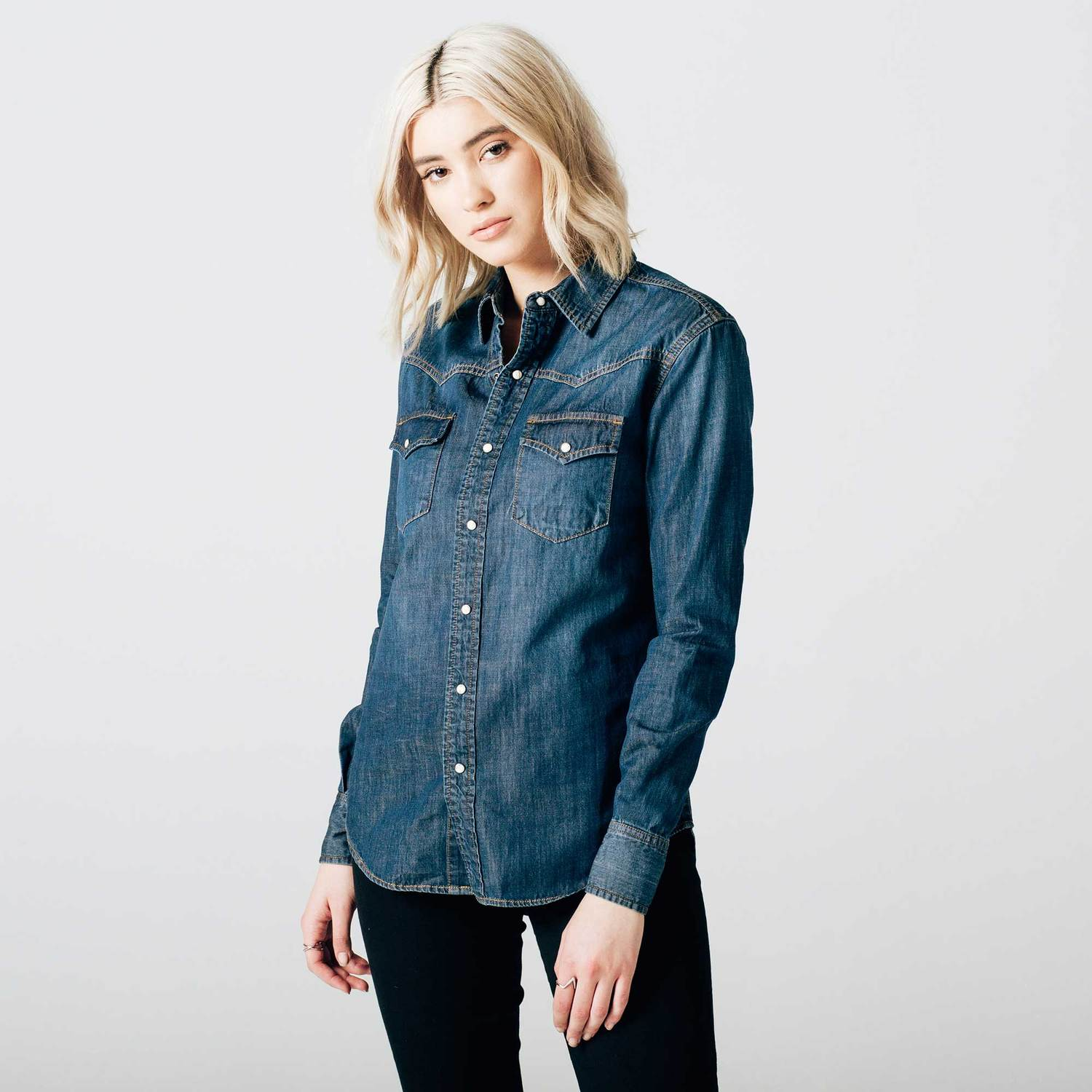 Womens denim snap button down shirt in dark vintage 75 for Blue denim shirt for womens