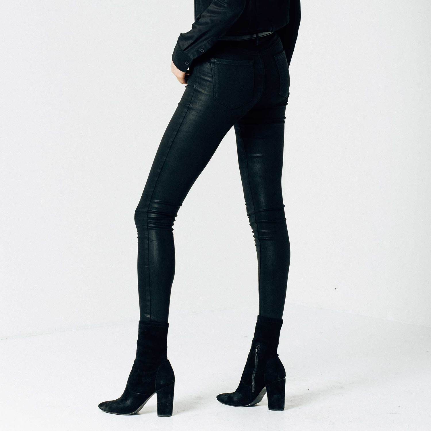 Womens High Waisted Skinny Jeans In Black Coated Powerstretch $125 ...