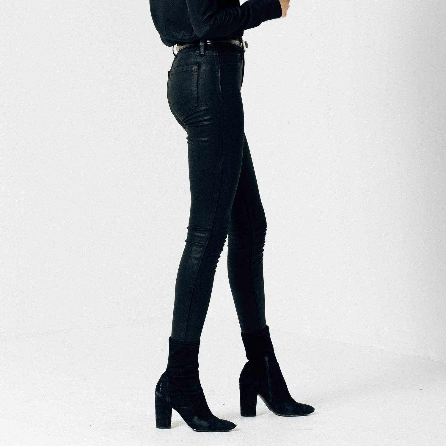 5b5991a21355 Womens High Waisted Skinny Jeans In Black Coated Powerstretch  63 ...