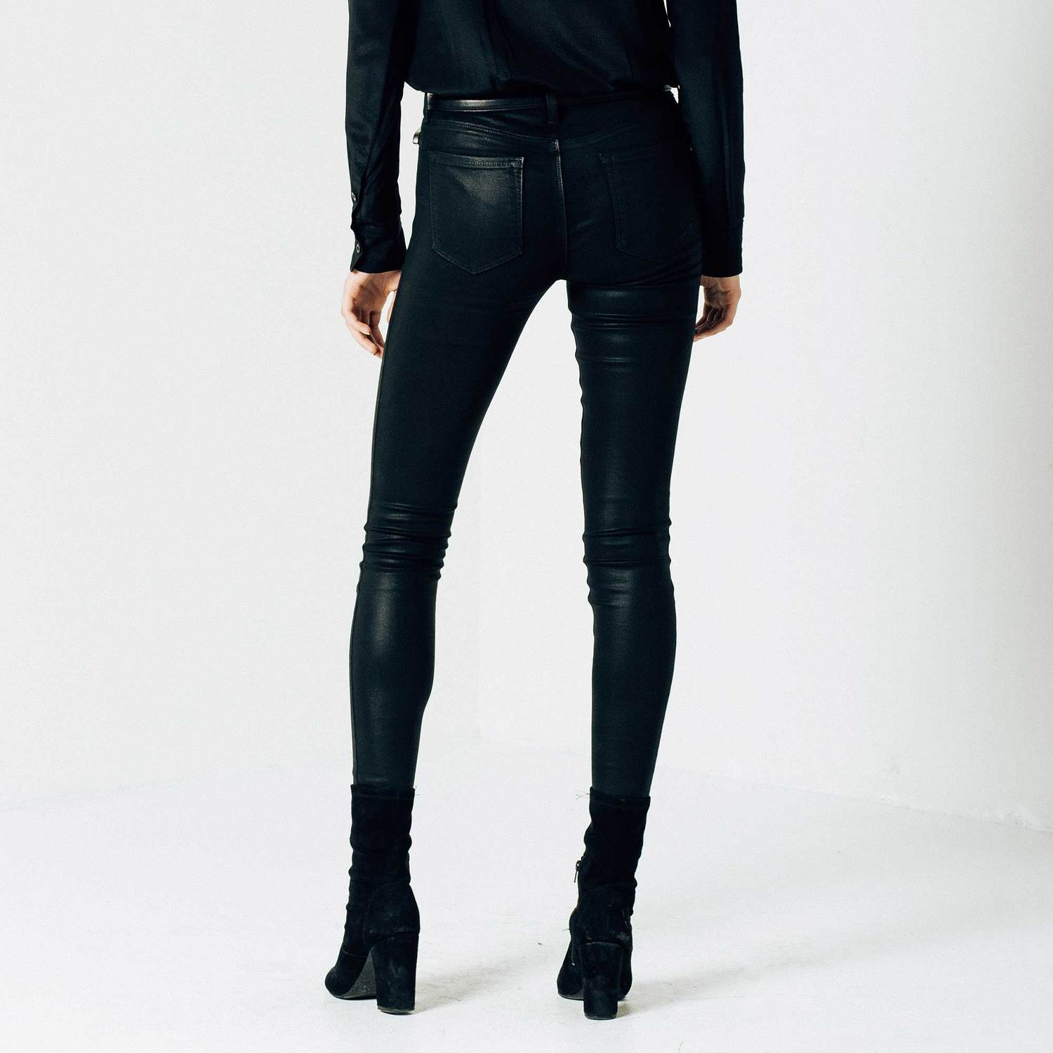 Womens High Waisted Skinny Jeans In Black Coated Powerstretch  63 ... ccfa54babe