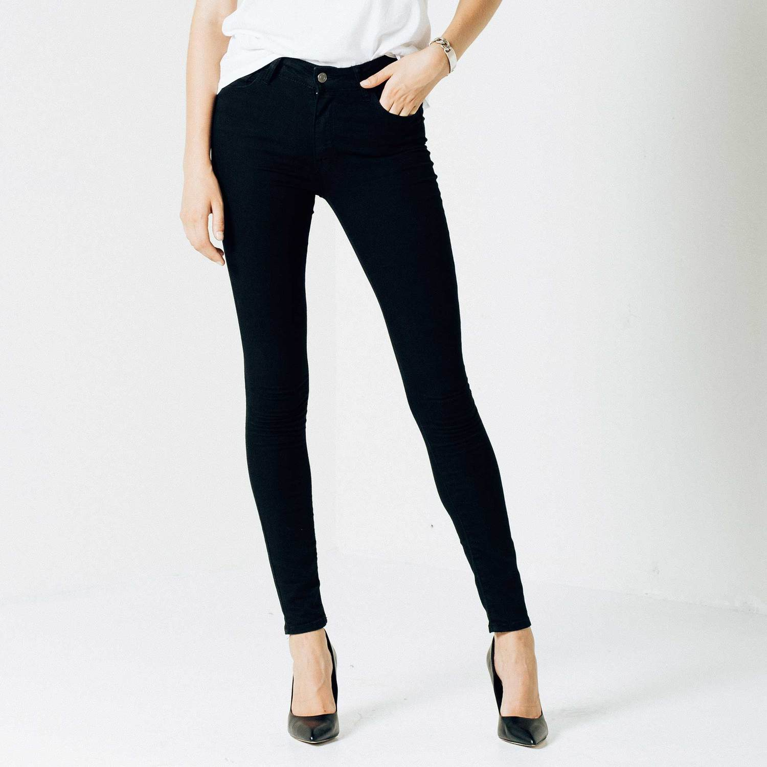 Womens High Waisted Skinny Jeans In Black Powerstretch $85 ...