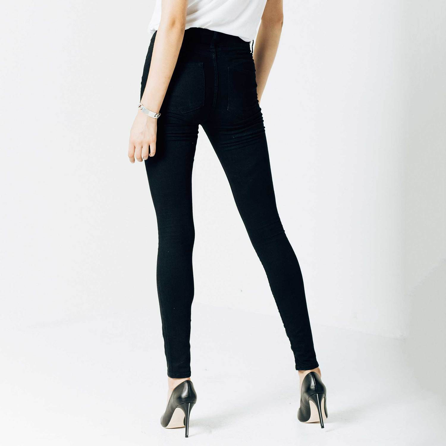 Womens High Waisted Skinny Jeans In Black Powerstretch 85