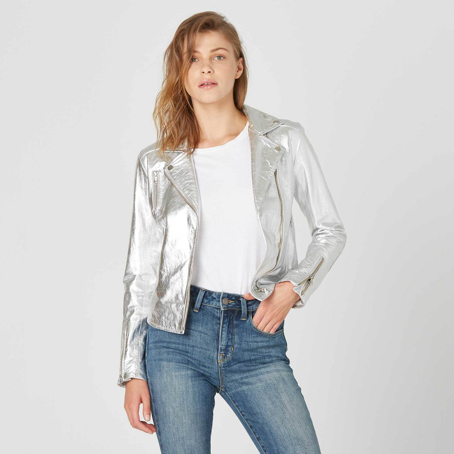 57d140b7351d Womens Leather Moto Jacket In Silver  350