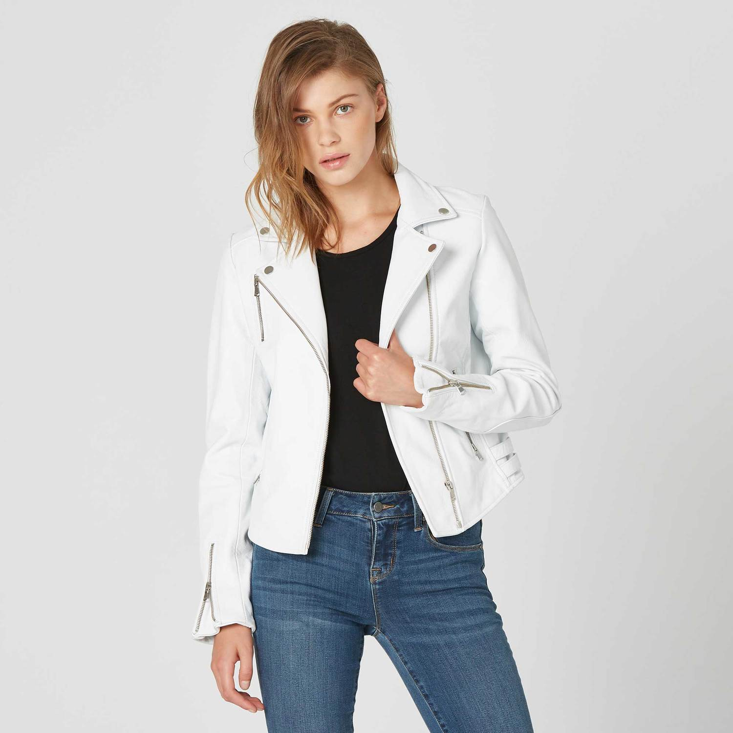Womens Leather Moto Jacket In White  350  73a99e2008