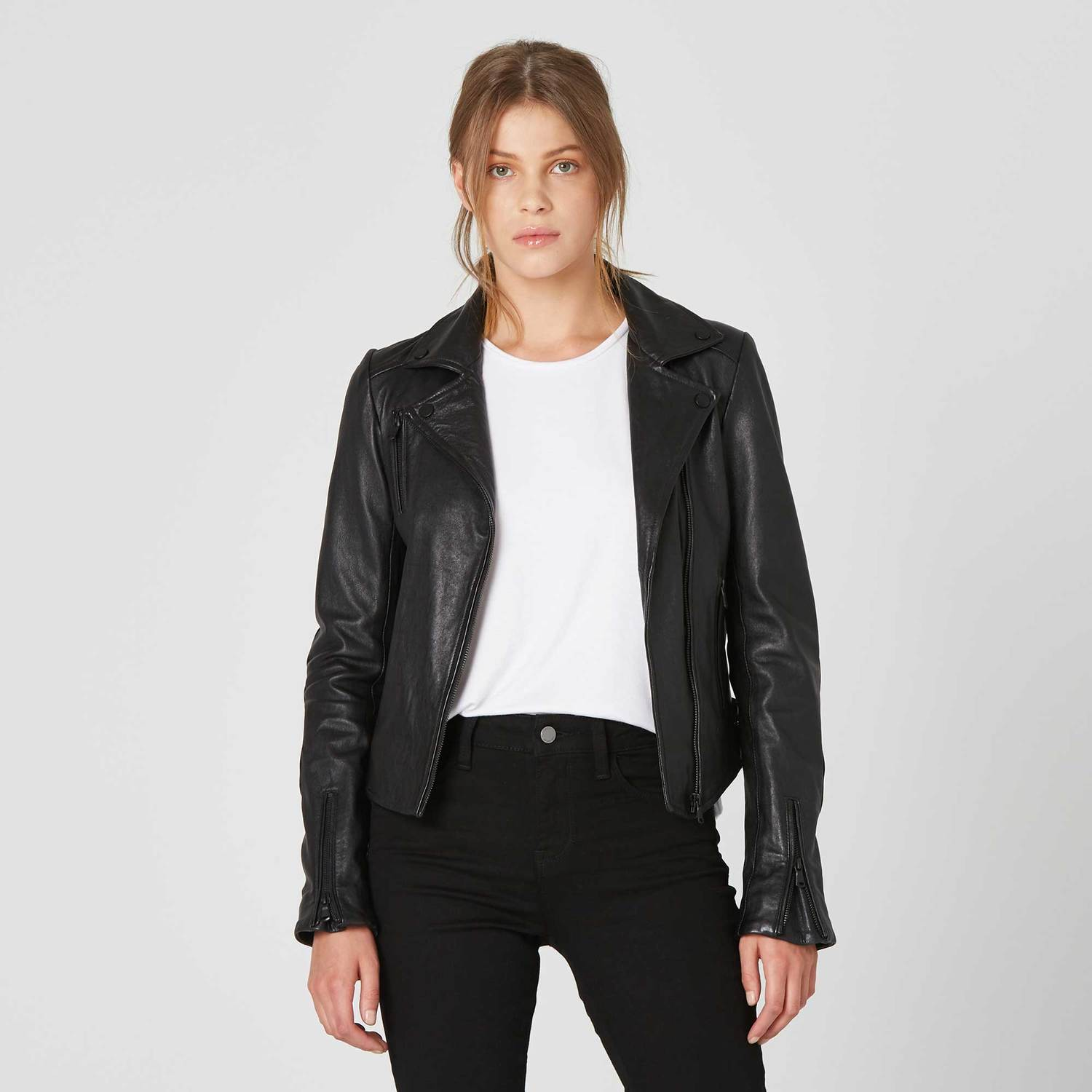 Womens Leather Moto Jacket With Black Hardware 300 Dstld