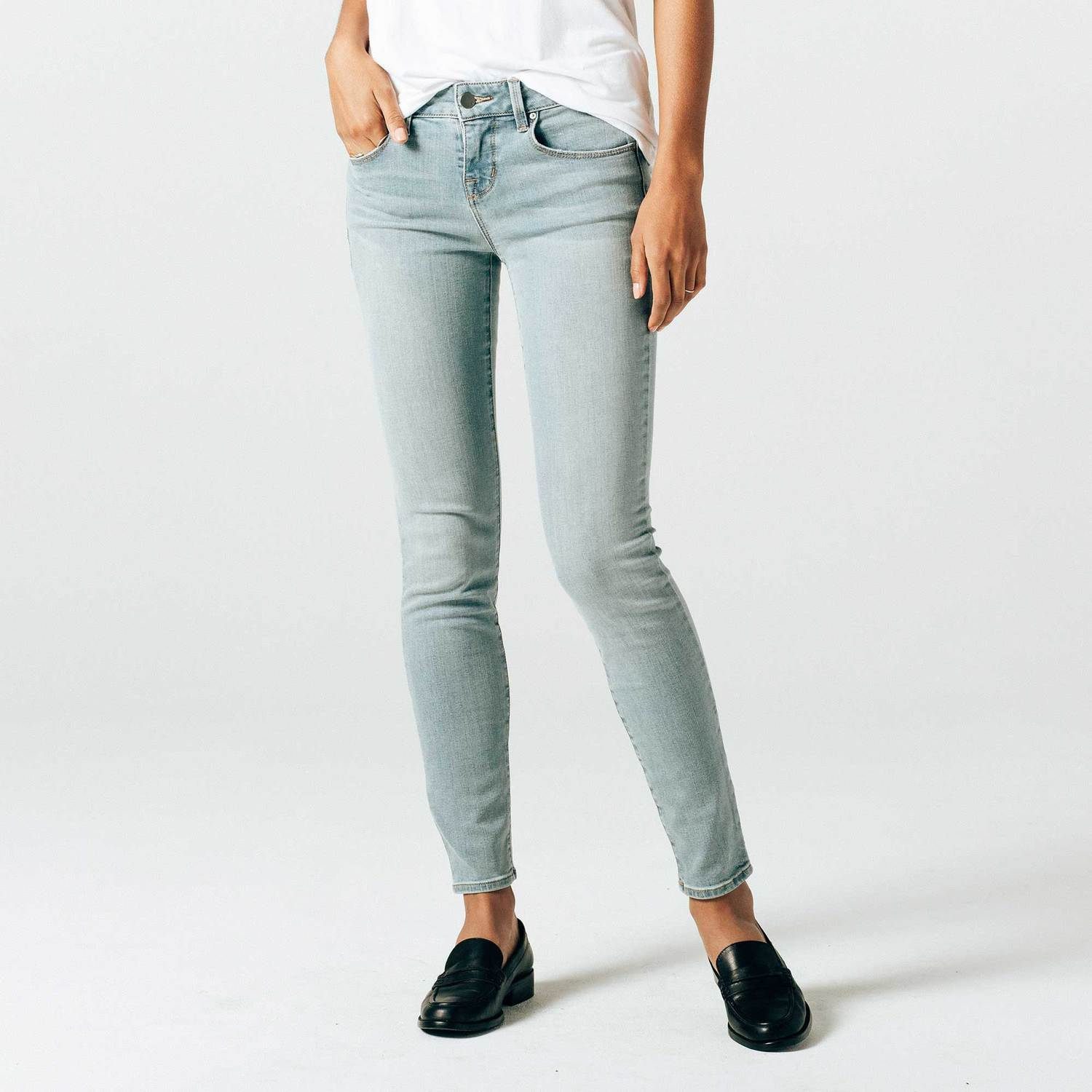 27887dce Womens Mid Rise Skinny Jeans In Light Vintage $47 | DSTLD
