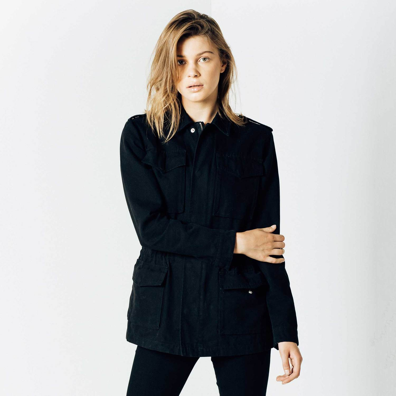 Womens Military Jacket In Black $95 | DSTLD