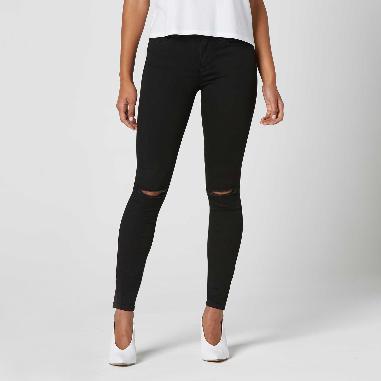 ec5b62c5f005 Womens Ripped High Waisted Skinny Jeans In Black Powerstretch $75 ...