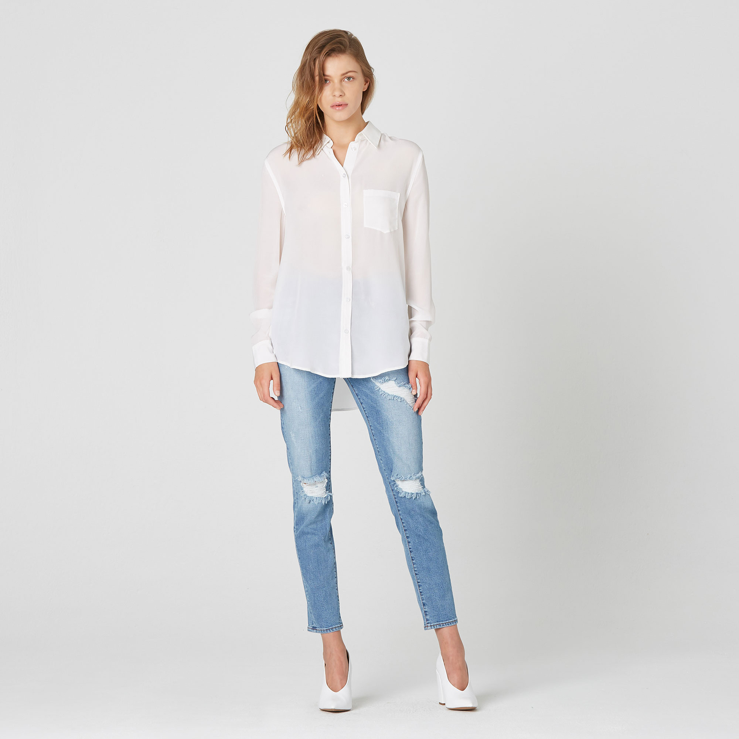70cbe77290940 Ladies Long White Silk Shirt – EDGE Engineering and Consulting Limited
