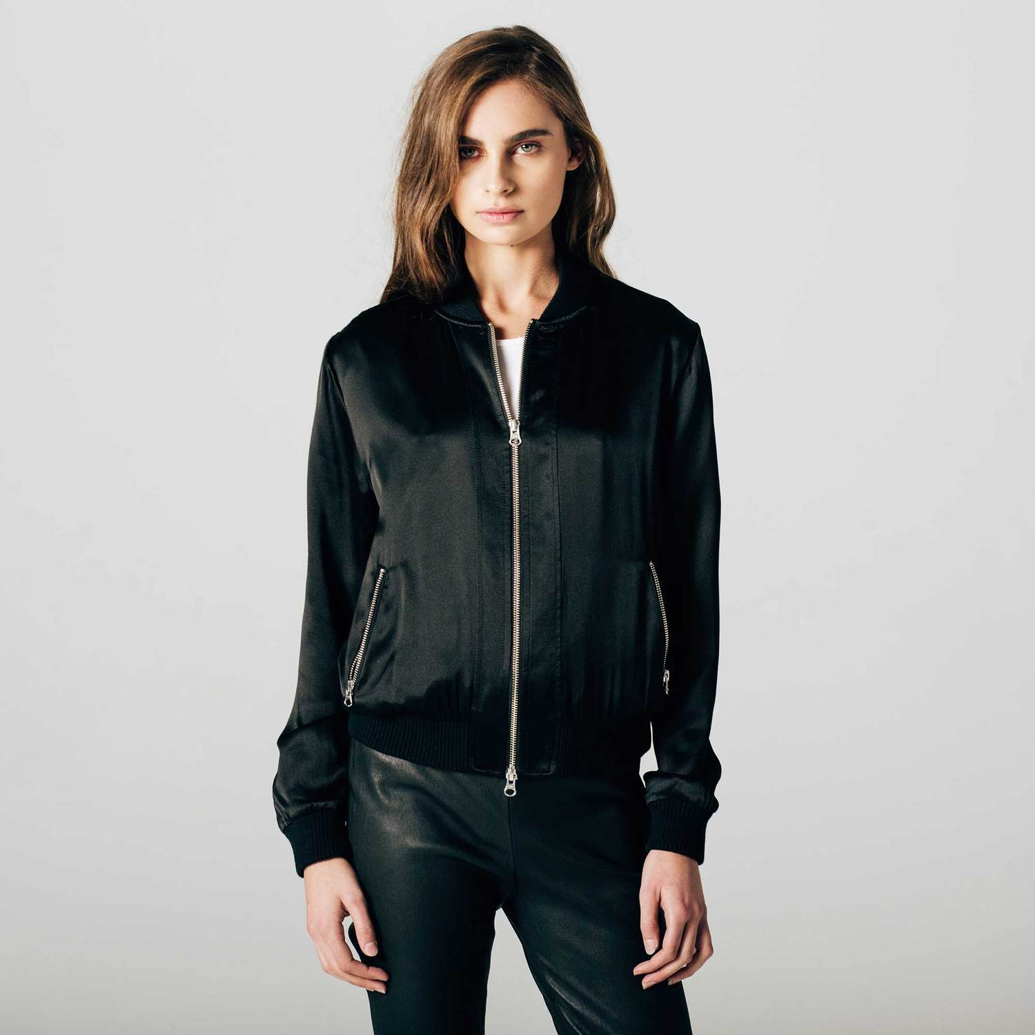 Womens Silk Bomber Jacket In Black $125 | DSTLD