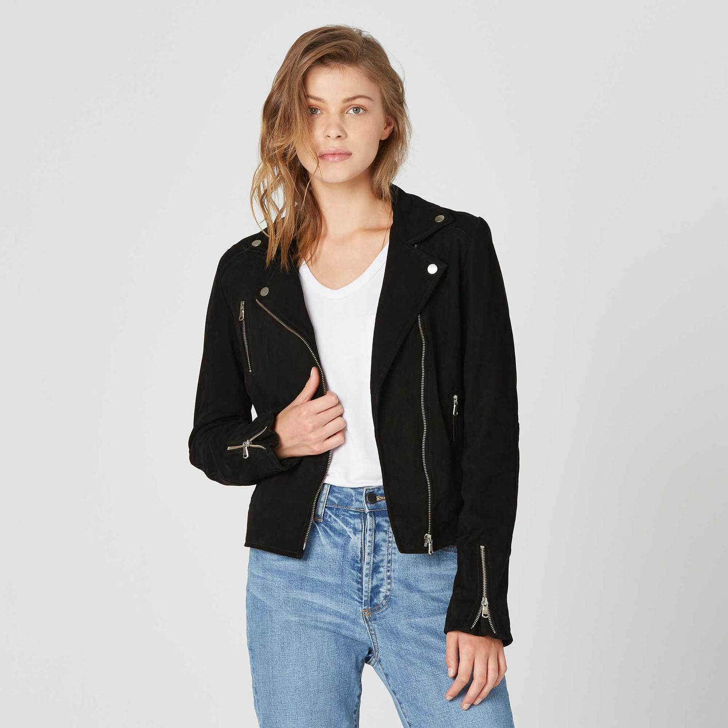 Womens Suede Moto Jacket In Black