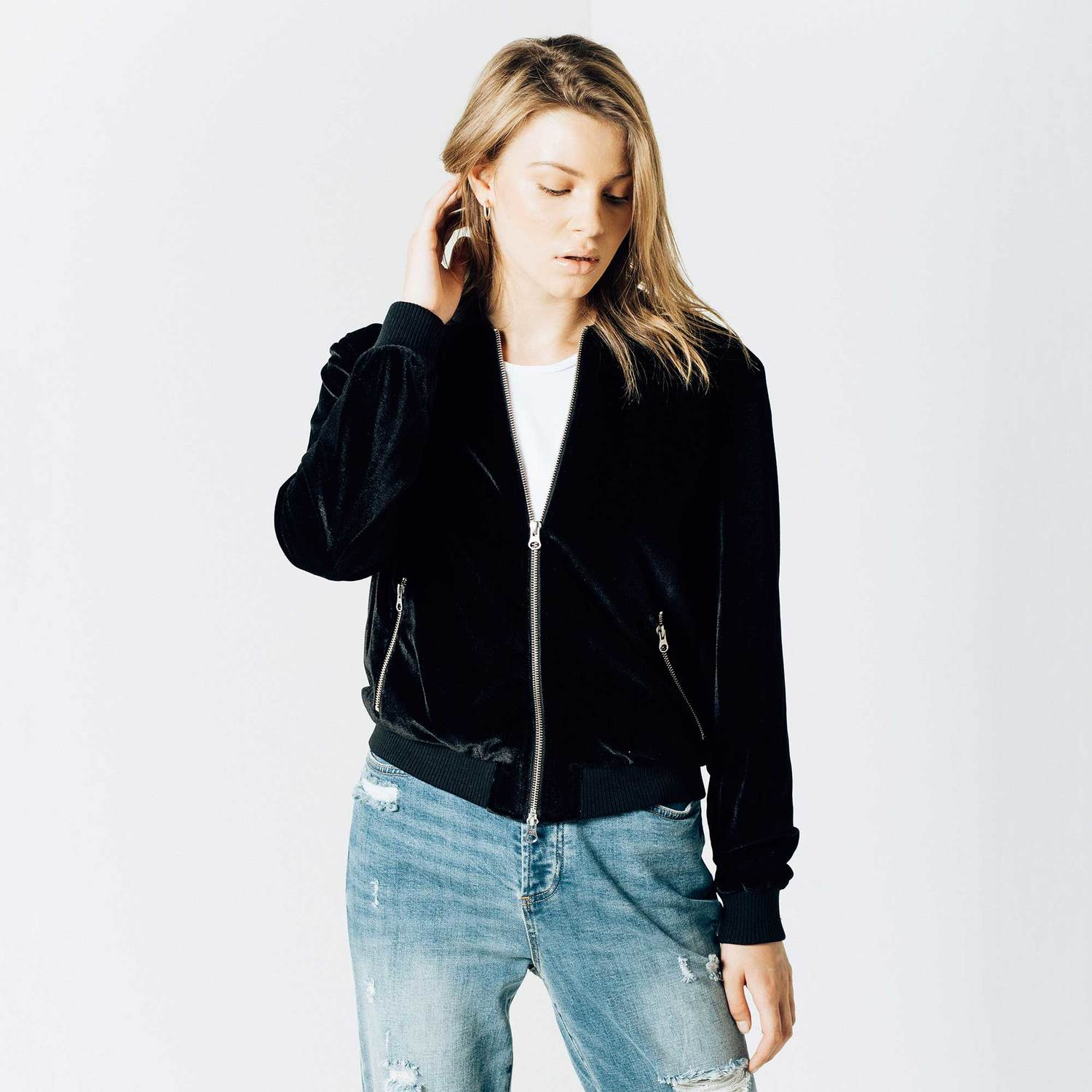 Womens Velvet Bomber Jacket In Black $120 | DSTLD