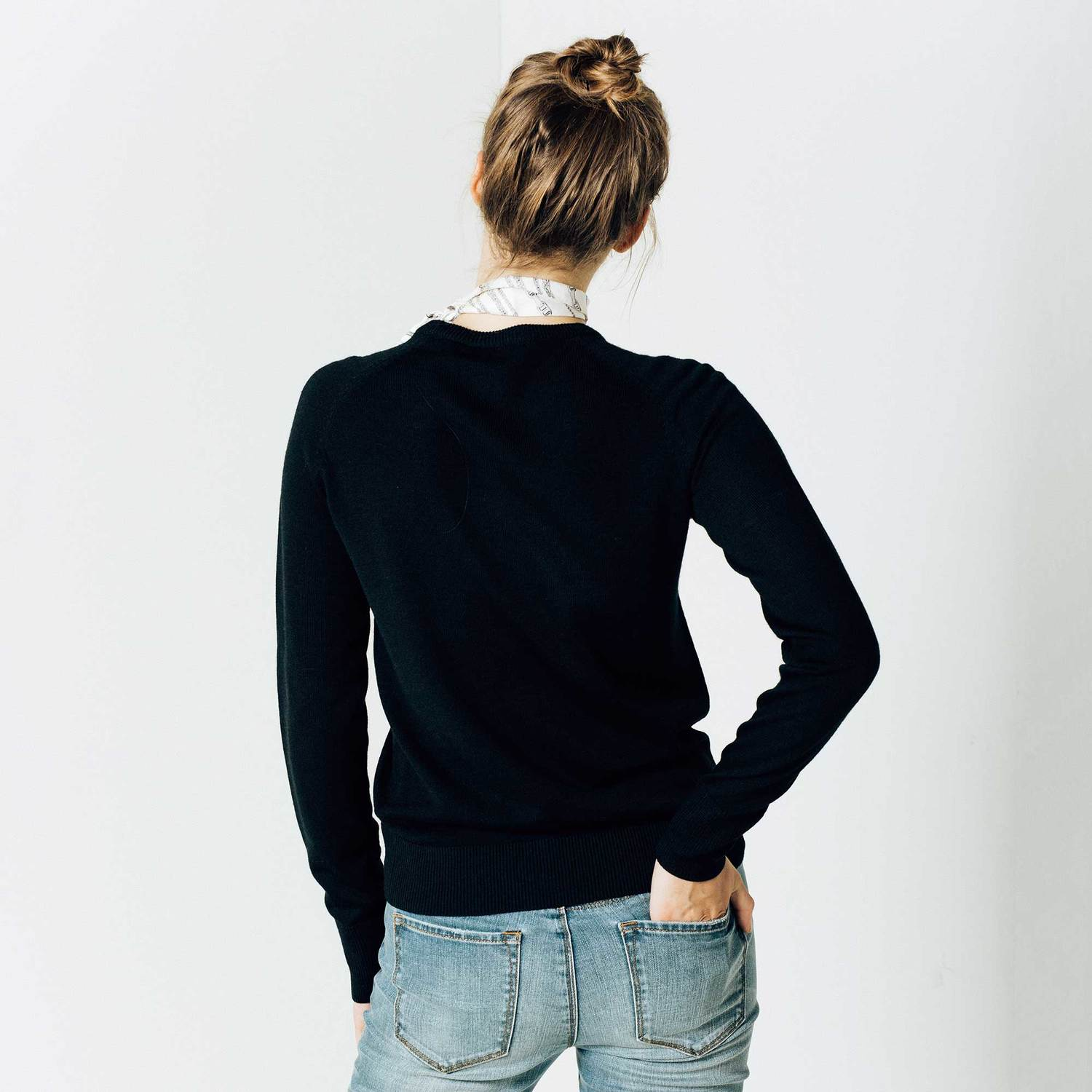 Womens Wool Crew Neck Pullover Sweater In Black $90 | DSTLD