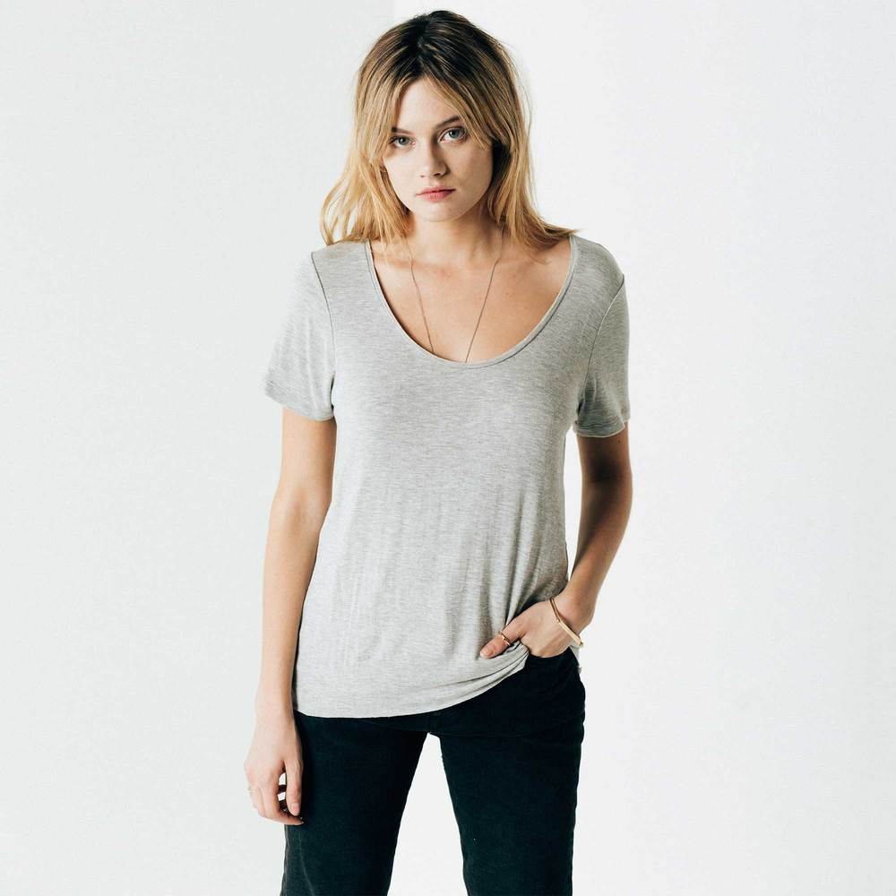 Loose Scoop Neck in Heather Grey ...